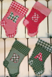 Monogram Letter Quilted Christmas Stocking Pattern - DIGITAL