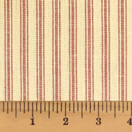 Autumn Red Ticking Stripe Homespun Cotton Fabric