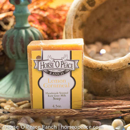 Handmade Goat Milk Soap 100% Raw | Lemon Cornmeal Goat Milk Soap | Horse O Peace