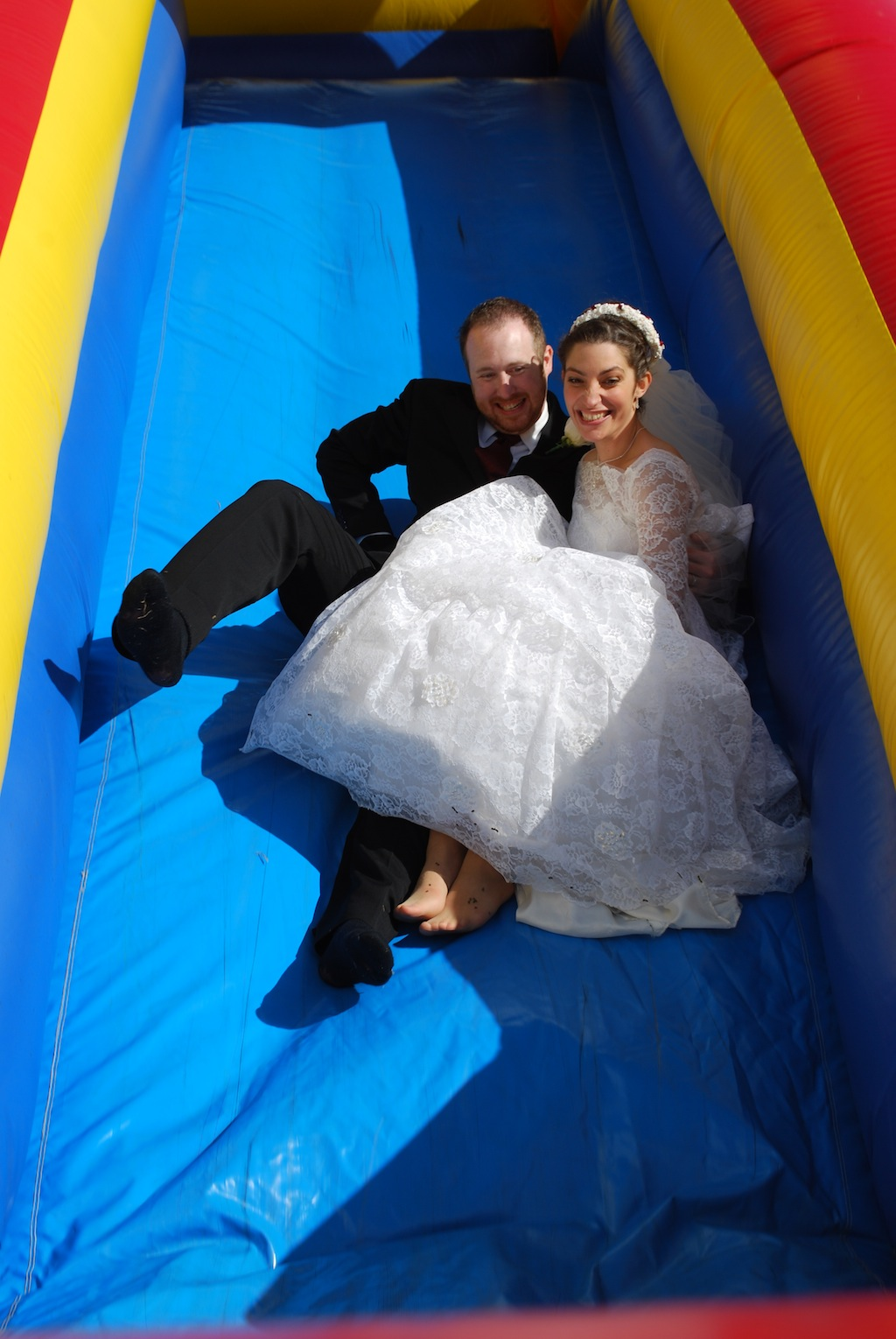 Nick and Elizabeth Slide On Their Wedding day