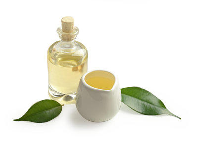 Tea Tree Essential Oil In a Bottle and Pouring Jar with Leaves on a White Background