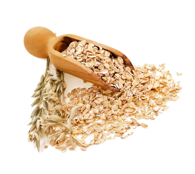 Whole Grain Organic Oatmeal with wooden scoop on White Background