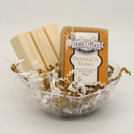 Goat Milk Soap Oatmeal 'n Honey Gift Set with Handcrafted Wooden Pine Soap Saver Dish