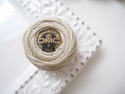 DMC Perle Cotton Embroidery Thread Size 8 Medium Beige Gray 644