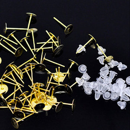 25 pairs 4 mm Gold Earring Posts with nuts