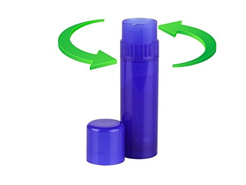 """Larger capacity Royal Blue Lip Balm Tubes has collar turn mechanism at the top and made with BPA free Polypropylene. 0.25oz (7.1g) capacity, 3.06"""" high with cap on. One-handed turning great for easy applications. You can use them for lip balms, personal care, ashesives, glue sticks, insect repellent, stick foundation, blush, deodorant and more."""
