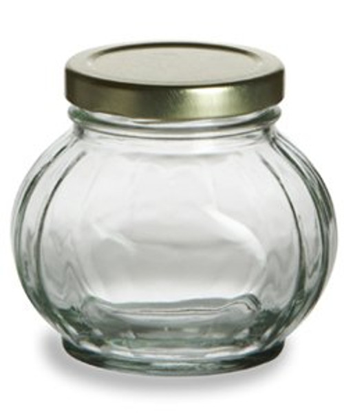 Nakpunar 8 oz Faceted Round Glass Storage Jar with Gold plastisol lined lid