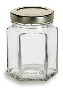 3 75 Oz Hexagon Glass Jar With Gold Lid Favor Jars