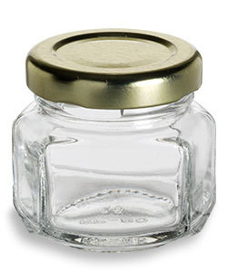 Oval Hexagon Glass Jar With Gold Lid 1 5 Oz 45 Ml