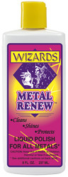 WIZARDS® METAL RENEW™ is an easy-to-use liquid polish that will restore, shine and protect most ypes of metal surfaces*. This product is designed to give the highest luster possible requiring the least amount of effort. HINT: For added protection against tarnish, rust and corrosion and to reduce the need for frequent polishings, apply #11021 POWER SEAL™.