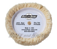 "Grip Wool Buffing Pad with high quality hook and loop material, plush durable fibers with a strong washable backing plate structure. The 7503G Buff and Shine is a 100% 4 ply twisted wool pad, 7.5"" X 1.5"" Grip Pad recommended for Compounding."
