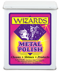 WIZARDS® METAL POLISH is a simple to use, fast-cut polish that cleans, brightens and protects all types of metal surfaces. This special high gloss formula is injected into the purest grade, surgical cotton cloth and sealed tightly to retain its freshness. METAL POLISH gives excellent results when used on: Aluminum, Chrome*, Stainless, Brass, Copper, Gold*, Bronze, Pewter, Silver*, Coated Wheels and Magnesium. METAL POLISH is great for many markets: Automotive, Motorcycle, Trucking, Marine, Aviation, Household and more.