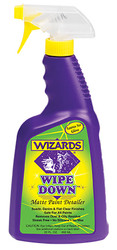 WIZARDS® WIPE DOWN™ is a no-gloss, dual-purpose product. Automotive and motorcycle detailers use the product to quickly remove dust, fingerprints, road grime and oily residue from all matte finishes. Body shop technicians find WIPE DOWN™ indispensable for removing oil and dust residue generated when buffing.