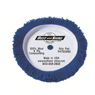 "BS-7503BG 7.5''x1.5"" Wool Hook & Loop Compounding Pad Blue"