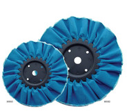 """Keystone #90082; Resin Dipped Buffs Used for Extra Heavy Duty Cutting and Polishing. Cloth is Biased Cut to Ensure Maximum Life.  The Folded Design Provides a Balanced Surface for Uniformed Cutting Over Entire Surface. Diameter 8 inches; 16 Ply; Arbor 5/8"""" & 1/2"""""""