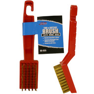 Densely packed Brass Wire Brush, safely and easily scrubs away dirt and grime from tires. Great for removing corrosion from battery terminals.