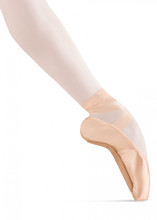 BLOCH TENSUS DEMI POINTE SHOE: Wide box thru metatarsals, slight V shaped vamp. The demipointe is a transitional shoe from the ballet flat to the pointeshoe. The Tensus demipointe features an adjusted pointe shoe box construction, which is softer but still allows the dancer to experience the feel of a pointe shoe. The insole and outsole work together to provide the correct amount of resistance needed for foot and ankle strength development. The padded insole cushion provides extra comfort. This pointe shoe is not designed for work en pointe. Excellent shoe for pre-pointe class. Sizes: 1-9. Widths: A,B,C,D. Color: European Pink. Fitting: Begin 2.5 to 3 sizes down from street shoes.
