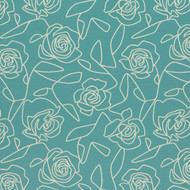 Bed of Roses Blue Upholstery Fabric