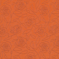 Bed of Roses Orange Upholstery Fabric Swatch