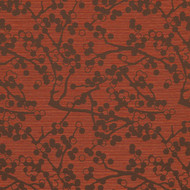 Cherries Red Brick Upholstery Fabric Swatch