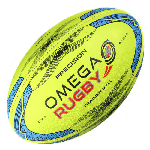 Omega Rugby Precision High Quality Training Ball - Fluoro/Blue