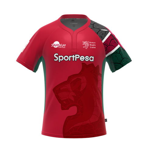 Kenya Rugby Union Home Jersey  This is the new Kenya 7's rugby kit 2017, the Kenyan national rugby team's new kit for the 2017 HSBC Sevens tournament. Made by Samurai Sports, this is expected to be worn by the national side during 7's fixtures in 2017/18  Polyester blend. Athletic fit.