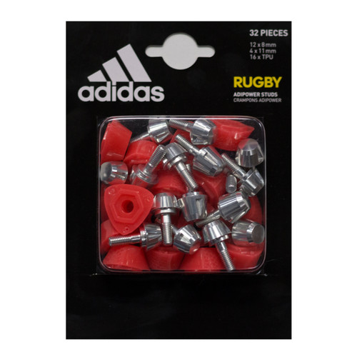 Adidas Kakari Replacement Studs  Replacement studs for Adidas AdiPower Boots. Contains 12 x 8mm, 4 x 11 mm, 16 x TPU Spacers. These studs will fit the following boots: Adidas AdiPower Kakari SG Rugby Boots.
