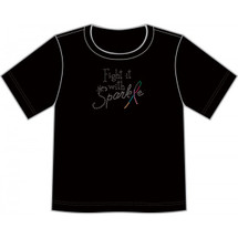 """Cancer Support Fight with Sparkle T-Shirt by Live for Life in black done in silver glitz while the """"L"""" in Sparkle is done in mutiple colored glitz"""