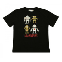 Childhood Cancer Awareness Bald Kids Rock T-Shirt by Live for Life with robot cartoon images