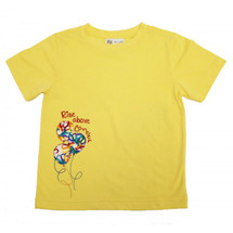 Childhood Cancer Support Rise Above Cancer Kids T-Shirt by Live for Life in yellow with multi-color balloons imagery