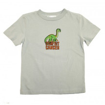 Childhood Cancer Awareness Stomp Out Cancer Kids T-Shirt by Live for Life in white with green dinosaur image