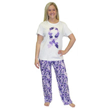 Cancer Support Purple Heart Ribbon Sleep Set with white shirt with purple ribbon and multi purple print on the pants