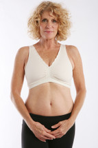 Softee by Ladies First in white Soft Silhouette Mastectomy Bra made from irresistibly silky cool microfiber with a wide band that is fully encased inside the fabric