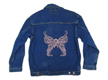 Demin Jacket with Pink Ribbon Butterfly