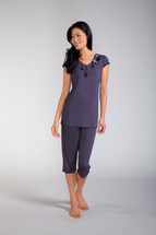 Capri Pajama Set with Ruffle Neckline