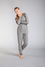 Ambience Pajama Set  in a light grey mélange fabric by Amoena