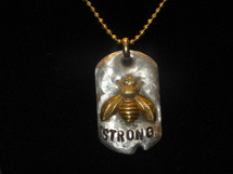 Lucky Lou Sterling Silver Bee Strong Necklace with adjustable 17 inch chain .