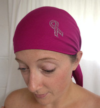 Breast Cancer Awareness Ribbon Self Tie Head Scarf in Magenta with Silver and Pink Ribbon by Sparkle my head Scarves