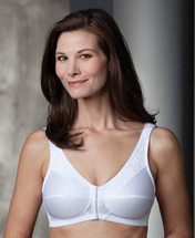 Trulife Bethany Front & Back Closure Lace Accent Soft Cup Mastectomy Bra in White and Nude colors.