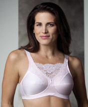 Trulife Jessica Cami Style Lace Accent Mastectomy Bra. Colors come in White, Nude, Powder Pink, and Black
