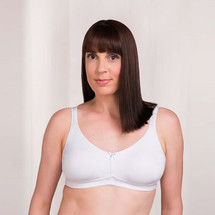 Trulife Phoebe Seamless Microfiber Soft Cup Mastectomy Bra in White, Nude colors.