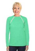 Chemo|Port-Accessible Women's Long Sleeve Shirt by Comfy Chemo in Aqua Green