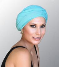 TurbanDiva Aqua Jersey Turban with Head Wrap (One Piece Set)