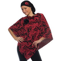 Coral & Black Floral Print Port Accessible Poncho by Wrapped in Love. Choose Hat Only, Poncho Only or Hat & Poncho Set