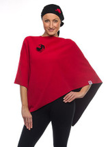 Black/Paprika Reversible Port Accessible Chemo Poncho