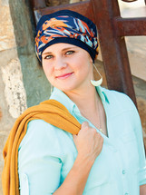 denim turbans, turbans for hair loss, hats for chemo, chemo hats, chemo turbans, head coverings for hair loss, hats with heart, turbans