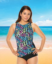 Draped High Neck Mastectomy Swim Tank in Abalone by T.H.E. - multi color print with black bottom