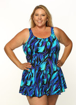Princess Mastectomy Swimdress in Wild Iris print in Women's Sizes by T.H.E.  - Blue and purple abstract print