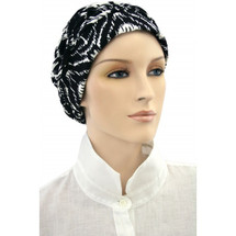 Chemotherapy Shirred Black & White Print Turban Cap by Hats for you