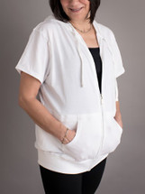 It's My Secret Post Surgical Drain Management Jacket with removable drain pouches - white short sleeve